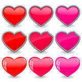 Hearts icon set Royalty Free Stock Images