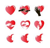Hearts icon set Stock Photo