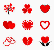Hearts icons. Hearts - collection of icons. Vector illustration Stock Photo