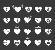 Hearts icons. Healthy and love heart, pulse hearted signs Royalty Free Stock Photography