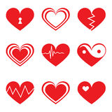 Hearts icons set in flat style Stock Photos