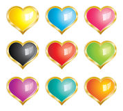 Hearts Icons Set - with gold frame. Vector glossy colored hearts set with frame vector illustration