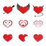 Hearts icons set illustration Stock Photography