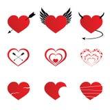 Hearts icons set illustration Stock Photography