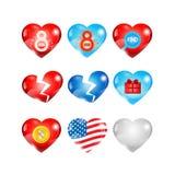 Hearts icons set Royalty Free Stock Photography