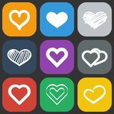 Hearts icons set Royalty Free Stock Photos