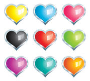 Hearts Icons Set - with silver frame. Vector glossy colored hearts set with frame vector illustration