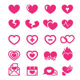 Hearts icons set Stock Photography