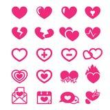 Hearts icons set Stock Photography