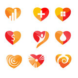 Hearts icons: vector set of love signs Royalty Free Stock Photo