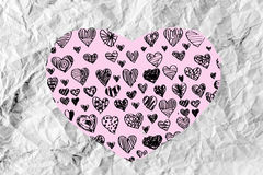 Hearts idea design on crumpled paper Royalty Free Stock Photos