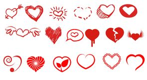 Hearts illustration. Red hearts illustration on white background Stock Images