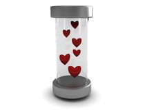 Hearts In Glass Tube Stock Images