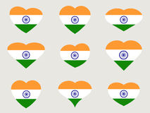 Hearts with the Indian flag. I love the India. Indian flag icon set. Vector Stock Photography
