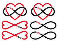 Hearts with infinity sign for mom, dad, vector set. Love mom, dad, infinity hearts for mothers day, fathers day cards, vector design elements set stock illustration