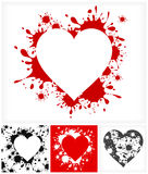 Hearts on inkblots background Stock Photography