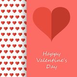 Hearts inside Happy Valentines Day card. Flat design. Vector illustration Royalty Free Stock Photos