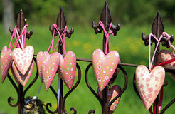 Hearts on iron fence Stock Photography