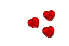 Hearts (isolated). Three hearts on a white background royalty free stock image