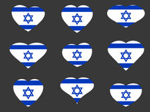 Hearts with the Israeli flag. I love the Israel. Israel flag icon set. Vector Stock Photos