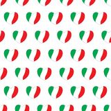 Hearts with Italian flags colors. Seamless pattern stock illustration