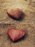 Hearts on jute Royalty Free Stock Photo