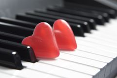 Hearts on a keyboard royalty free stock images