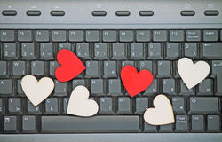 Hearts on keyboard Royalty Free Stock Photography