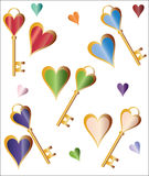 Hearts and Keys background Royalty Free Stock Photos