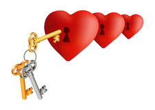 Hearts with keys. Illustration of hearts with keyholes and key bunch isolated Stock Photo