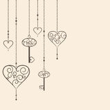 Hearts and keys Royalty Free Stock Image