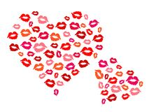 Hearts and kisses. Two hearts made of lipstick kisses stock illustration