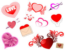 Hearts kit. Nice vector collection in artistic style royalty free illustration