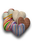 Hearts of knitted fabric Royalty Free Stock Photos