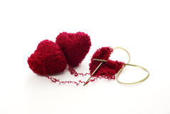 Hearts knitted together Stock Photo