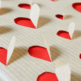 Hearts on a kraft paper Stock Photography