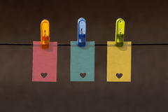 Hearts on labels hooked contrejoure Royalty Free Stock Photography