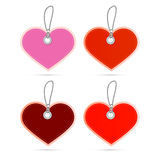 Hearts Labels on Strings Set Royalty Free Stock Photos
