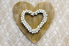 Hearts on lace Royalty Free Stock Image