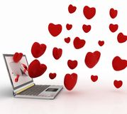 Hearts and laptop Royalty Free Stock Photo