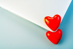 Hearts and laptop Royalty Free Stock Images