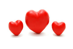 Hearts (Large Middle). Valentine's 3D Red Hearts Isolated on White Background Stock Images