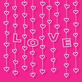 Hearts and letters Â«LOVE» hanging on strings. White hearts and letters «LOVE» hanging on strings at pink background. Vector illustration for valentine or vector illustration