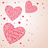 Hearts on light background. Vector illustration. Happy Valentines day elements for your romantic design. Flying hearts Stock Image