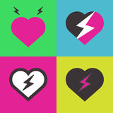 Hearts with lightning Stock Photography