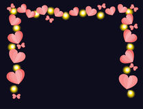 Hearts and lights frace Royalty Free Stock Images