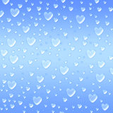 Hearts Like Droplets Blue Background Royalty Free Stock Photos