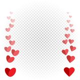 Hearts like flies up and disappears. Red love heart fly on white transparent background Royalty Free Stock Photo