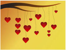 Hearts on limb Royalty Free Stock Image