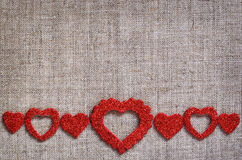 Hearts line on canvas Stock Photography